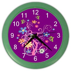 Flowery Flower Wall Clock (color) by SaraThePixelPixie