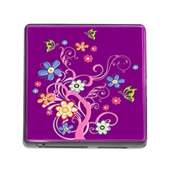 Flowery Flower Memory Card Reader With Storage (square) by SaraThePixelPixie