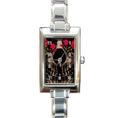 Death And Flowers Rectangular Italian Charm Watch by dflcprints