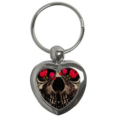 Death And Flowers Key Chain (heart) by dflcprints