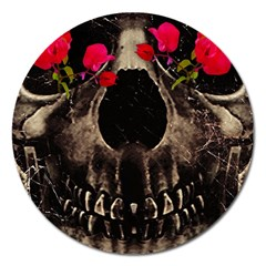 Death And Flowers Magnet 5  (round) by dflcprints