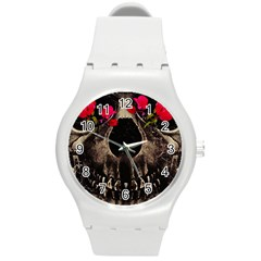 Death And Flowers Plastic Sport Watch (medium) by dflcprints