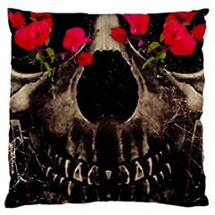 Death And Flowers Large Cushion Case (two Sided)  by dflcprints
