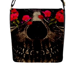 Death And Flowers Flap Closure Messenger Bag (large) by dflcprints