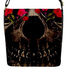 Death And Flowers Flap Closure Messenger Bag (small) by dflcprints