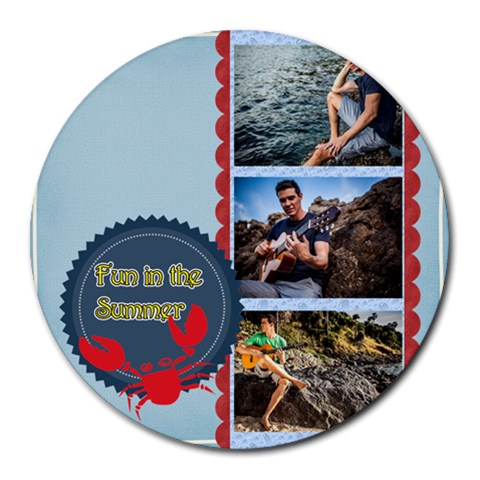 Summer By Summer Time    Collage Round Mousepad   03mmcdofmjid   Www Artscow Com 8 x8 Round Mousepad - 1