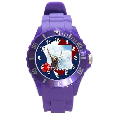 Usa By Usa   Round Plastic Sport Watch (l)   Lb5fov789czl   Www Artscow Com Front