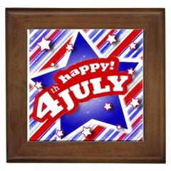 4th Of July Celebration Design Framed Ceramic Tile by dflcprints