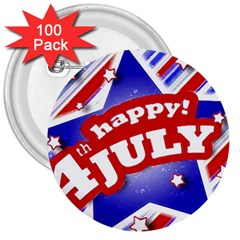 4th Of July Celebration Design 3  Button (100 Pack)