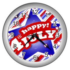 4th Of July Celebration Design Wall Clock (silver)