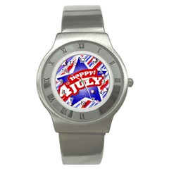 4th Of July Celebration Design Stainless Steel Watch (slim) by dflcprints
