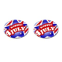 4th Of July Celebration Design Cufflinks (oval) by dflcprints