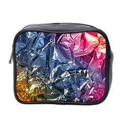 Texture   Rainbow Foil By Dori Stock Mini Travel Toiletry Bag (two Sides) by TheWowFactor