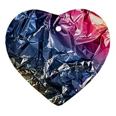 Texture   Rainbow Foil By Dori Stock Heart Ornament by TheWowFactor