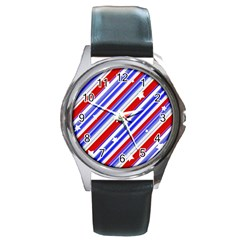 American Motif Round Leather Watch (silver Rim) by dflcprints