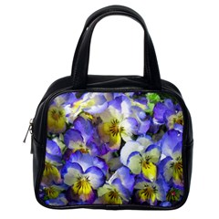 Painted Pansies Classic Handbag (one Side) by CrackedRadish