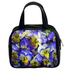 Painted Pansies Classic Handbag (two Sides) by CrackedRadish
