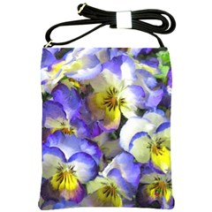 Painted Pansies Shoulder Sling Bag by CrackedRadish
