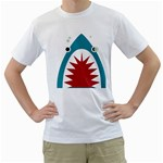 shark - Men s T-Shirt (White) (Two Sided)