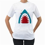 shark - Women s T-Shirt (White) (Two Sided)