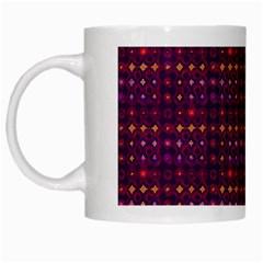 Funky Retro Pattern White Coffee Mug by SaraThePixelPixie