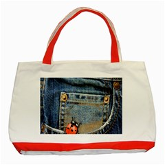 Blue Jean Lady Bug Classic Tote Bag (red) by TheWowFactor