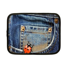 Blue Jean Lady Bug Netbook Sleeve (small) by TheWowFactor