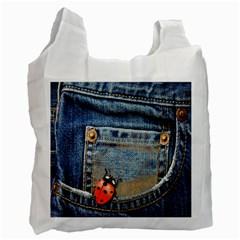 Blue Jean Lady Bug White Reusable Bag (Two Sides)