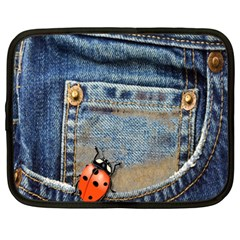 Blue Jean Lady Bug Netbook Sleeve (xl) by TheWowFactor