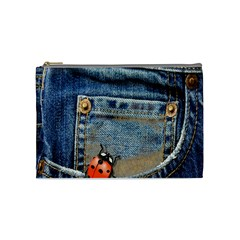 Blue Jean Lady Bug Cosmetic Bag (medium) by TheWowFactor