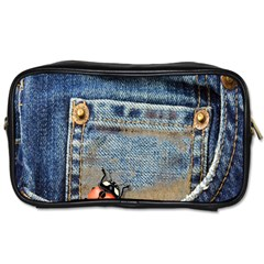 Blue Jean Lady Bug Travel Toiletry Bag (one Side) by TheWowFactor