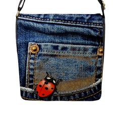 Blue Jean Lady Bug Flap Closure Messenger Bag (large) by TheWowFactor