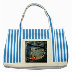 Blue Jean Butterfly Blue Striped Tote Bag by AlteredStates