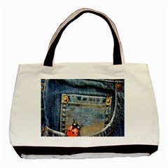Blue Jean Butterfly Twin Sided Black Tote Bag