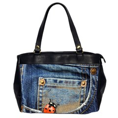 Blue Jean Butterfly Oversize Office Handbag (two Sides) by AlteredStates