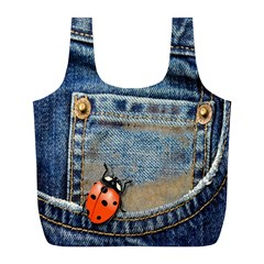 Blue Jean Butterfly Reusable Bag (l) by AlteredStates