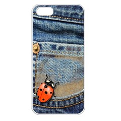 Blue Jean Butterfly Apple Iphone 5 Seamless Case (white) by AlteredStates