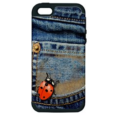 Blue Jean Butterfly Apple Iphone 5 Hardshell Case (pc+silicone) by AlteredStates