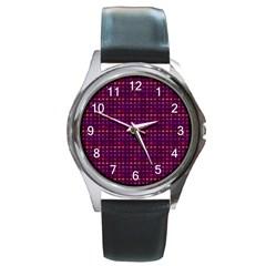Funky Retro Pattern Round Leather Watch (silver Rim) by SaraThePixelPixie