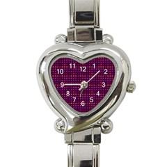 Funky Retro Pattern Heart Italian Charm Watch  by SaraThePixelPixie