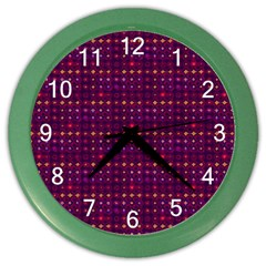 Funky Retro Pattern Wall Clock (color) by SaraThePixelPixie
