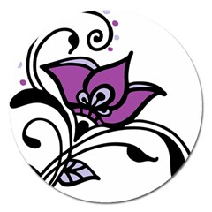 Awareness Flower Magnet 5  (round) by FunWithFibro