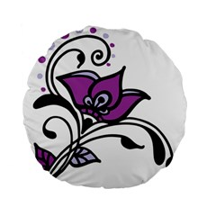 Awareness Flower 15  Premium Round Cushion  by FunWithFibro
