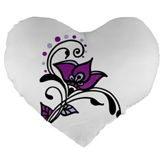 Awareness Flower 19  Premium Heart Shape Cushion by FunWithFibro