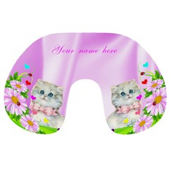 Pink Flowers And Kitten Travek Neck Pillow By Kim Blair   Travel Neck Pillow   C78mgbm06kym   Www Artscow Com Front