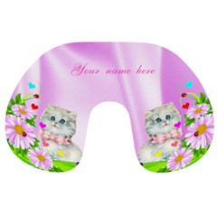 Pink Flowers And Kitten Travek Neck Pillow By Kim Blair   Travel Neck Pillow   C78mgbm06kym   Www Artscow Com Back