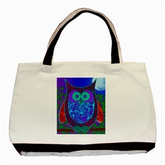 Moon Owl Twin Sided Black Tote Bag by SaraThePixelPixie
