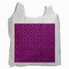 Purple Moroccan Pattern White Reusable Bag (Two Sides) by SaraThePixelPixie