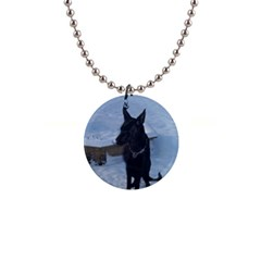 Snowy Gsd Button Necklace by StuffOrSomething