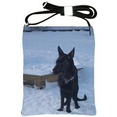 Snowy Gsd Shoulder Sling Bag by StuffOrSomething